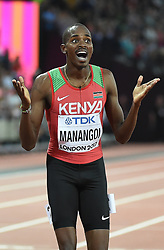 August 13, 2017 - London, England, United Kingdom - Elijah Motonei Manangoi of Kenya, winning in 1500 meter  final in London at the 2017 IAAF World Championships athletics. (Credit Image: © Ulrik Pedersen/NurPhoto via ZUMA Press)