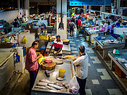 24 AUGUST 2018 - GEORGE TOWN, PENANG, MALAYSIA: The seafood section of Chowrasta Market in central George Town. Chowrasta Market was originally built in 1890 and is the older of two traditional markets in George Town. The original building was torn down and replaced with a modern building in 1961 and has been renovated several times since.     PHOTO BY JACK KURTZ