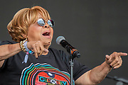 Pilton, Somerset, UK.Mavis Staples (b 1939) plays the Pyramid Stage to a small, reflective but generally appreciative crowd - The 2019 Glastonbury Festival, Worthy Farm, Glastonbury.