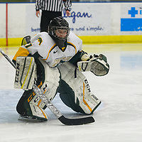 3rd year goalie Jane Kish (31) of the Regina Cougars in action during the Women's Hockey home game on December 1 at Co-operators arena. Credit: Arthur Ward/Arthur Images