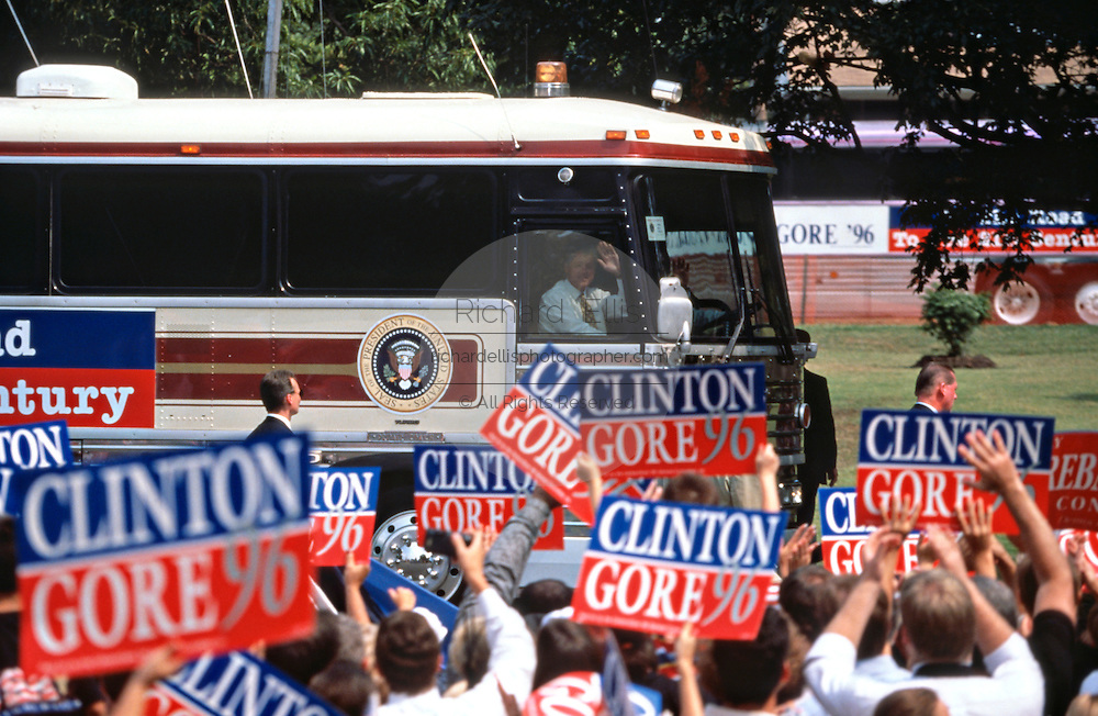 US President Bill Clinton with first lady Hillary Clinton during a campaign stop on their bus tour August 30, 1996 in Cape Girardeau. MO.