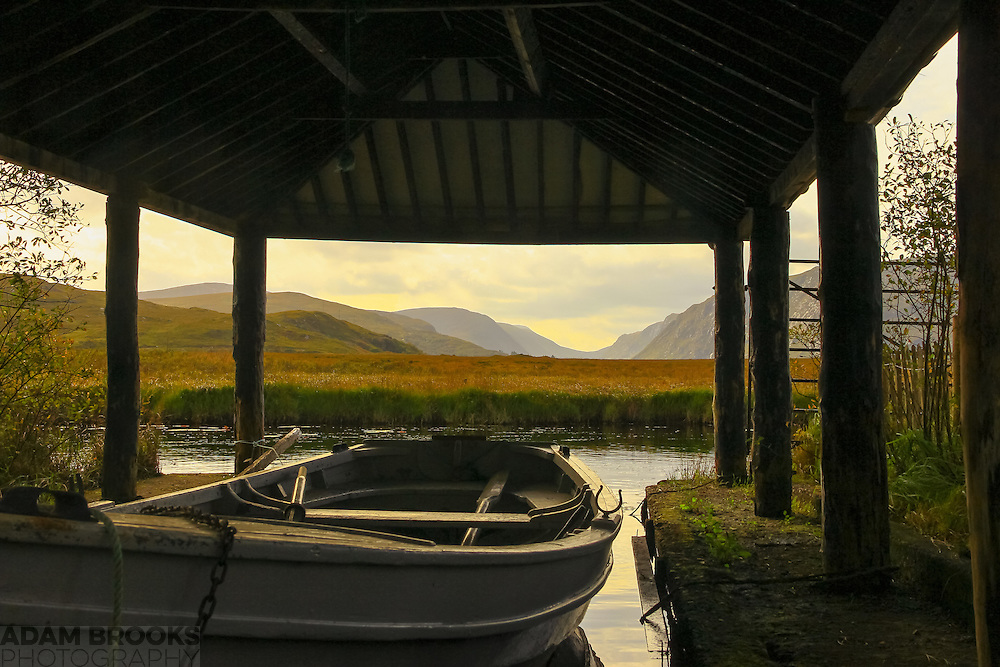 View from a boathouse in Glenveagh National Park overlooking Lough Veagh