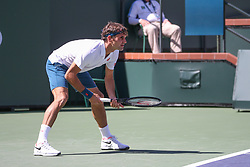 March 15, 2019 - Indian Wells, CA, U.S. - INDIAN WELLS, CA - MARCH 15: Roger Federer (SUI) waits to receive serve during the BNP Paribas Open on March 15, 2019 at Indian Wells Tennis Garden in Indian Wells, CA. (Photo by George Walker/Icon Sportswire) (Credit Image: © George Walker/Icon SMI via ZUMA Press)