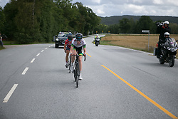 Lisen Hocking (AUS) of Team Australia leads the two-strong break on Stage 3 of the Ladies Tour of Norway - a 156.6 km road race, between Svinesund (SE) and Halden on August 20, 2017, in Ostfold, Norway. (Photo by Balint Hamvas/Velofocus.com)