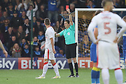 referee D England shows Gillingham FC striker Rory Donnelly (9) Red Card during the EFL Sky Bet League 1 match between AFC Wimbledon and Gillingham at the Cherry Red Records Stadium, Kingston, England on 1 October 2016. Photo by Stuart Butcher.