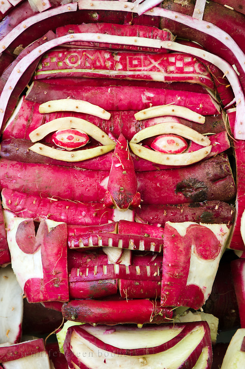 Mictlantecuhtli, the Mixtec God of Death, carved from radishes for Noche de Rabanos, Oaxaca, Mexico.