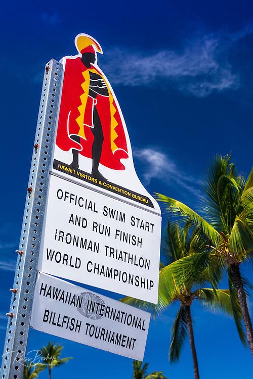 Sign at the start of the Ironman Triathlon, Kailua-Kona, Hawaii, USA