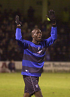 Photo. Glyn Thomas.<br /> Gillingham v Charlton. FA Cup Third Round.<br /> Priestfield Stadium. 03/01/2004.<br /> Gillingham's Mamady Sidibe, scorer of his side's second goal, celebrates the famous win.