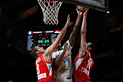 12.09.2014, City Arena, Madrid, ESP, FIBA WM, Frankreich vs Serbien, Halbfinale, im Bild France´s Gelabale (C) and Serbia´s Bjelica and Kalinic // during FIBA Basketball World Cup Spain 2014 semifinal match between France and Serbia at the City Arena in Madrid, Spain on 2014/09/12. EXPA Pictures © 2014, PhotoCredit: EXPA/ Alterphotos/ Victor Blanco<br /> <br /> *****ATTENTION - OUT of ESP, SUI*****