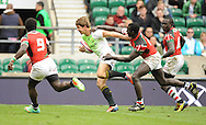 LONDON, ENGLAND - Sunday 11 May 2014, Kwagga Smith of South Africa on his way to the try line during the Plate final match between South Africa and Kenya at the Marriott London Sevens rugby tournament being held at Twickenham Rugby Stadium in London as part of the HSBC Sevens World Series.<br /> Photo by Roger Sedres/ImageSA
