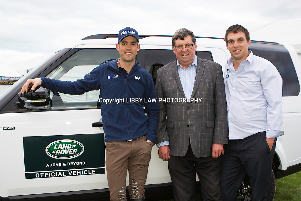 Event CEO Kevin Hansen and Event Director Andrew Hansen welcome Olympic and World Equestrian Games representative NZL-Jonathan Paget at the Land Rover VIP Area: 2015 NZL-Farmlands Horse Of The Year Show, Hastings (Wednesday 18 March) CREDIT: Libby Law CREDIT: LIBBY LAW PHOTOGRAPHY