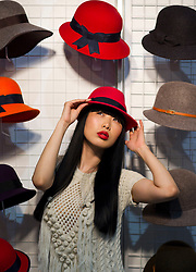 Repro Free: 20/01/2012.Pictured at the opening of Showcase 2013 are models Yomiko (wearing an Aran dress by Aran Crafts of Ireland / West End Knitwear and hat by Shelvin Hats) showcasing the best of fashion from leading Irish designers and homewear this week at Ireland's largest international trade fair. Showcase takes place at the RDS from Sunday 20th to Wednesday 23rd January. For more information visit www.showcase .com. Picture Andres Poveda