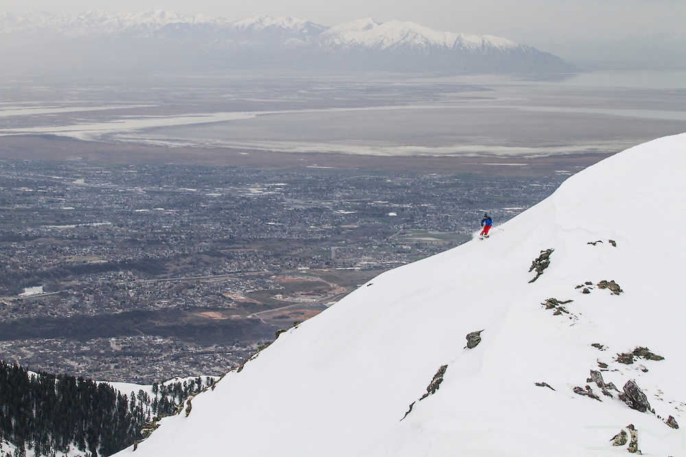 Backcountry ski in Snowbasin with the Great Salt Lake in the background