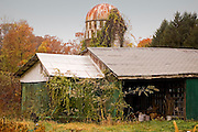 An aging out-building and silo hold on against the years on a farm in rural Gloucester County, NJ.