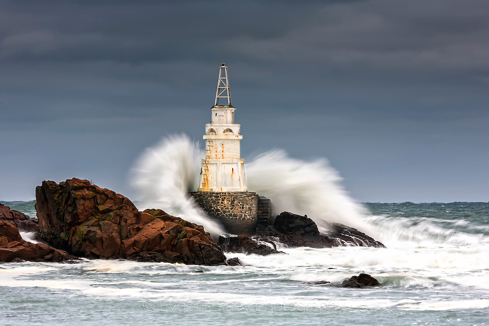 A wave is smashing in a lighthouse