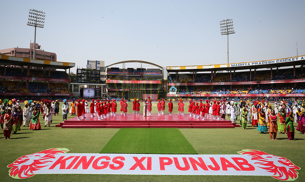 General view of the opening ceremony during match 4 of the Vivo 2017 Indian Premier League between the Kings XI Punjab and the Rising Pune Supergiant held at the Holkar Cricket Stadium in Indore, India on the 8th April 2017<br /> <br /> Photo by Shaun Roy - IPL - Sportzpics