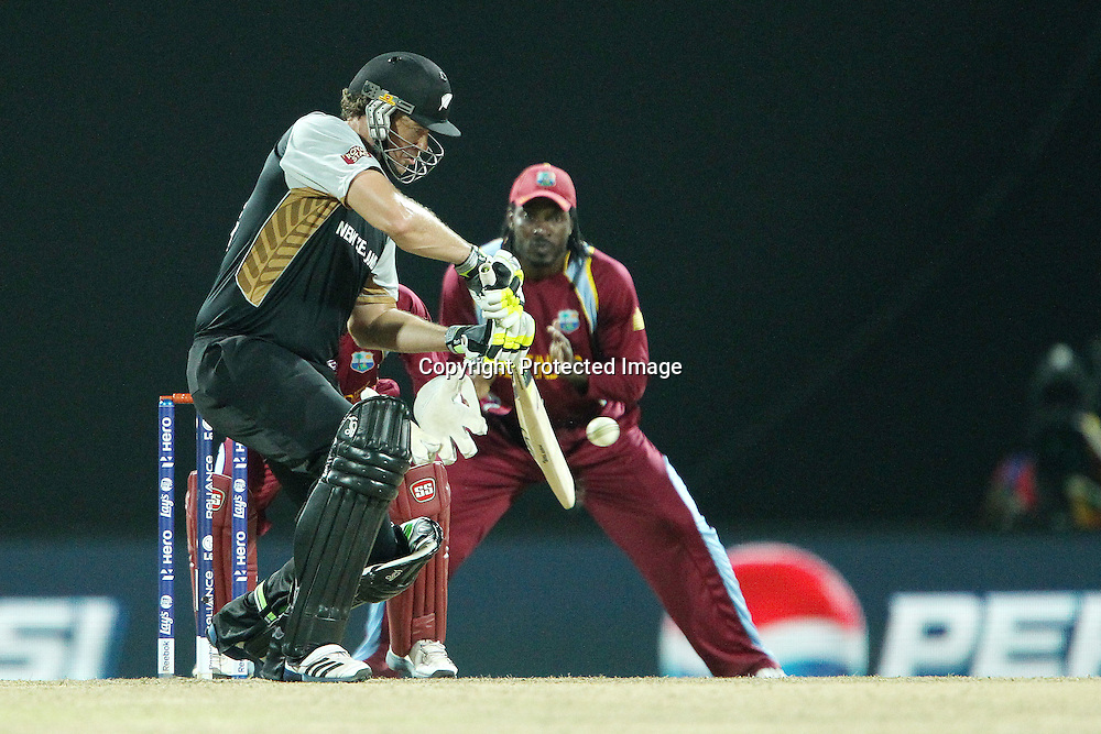 Jacob Oram during the ICC World Twenty20 Super Eights match between The West Indies and New Zealand held at the  Pallekele Stadium in Kandy, Sri Lanka on the 1st October 2012<br /> <br /> Photo by Ron Gaunt/SPORTZPICS/PHOTOSPORT