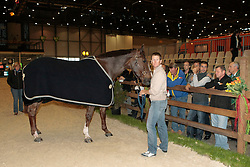 Ward Mclain (USA) - Sapphire<br /> Pressconference concerning disqualification of McLain Ward's horse Sapphire due to a positive Hypersensitivity test after the second competion of the Rolex FEI World Cup Final - Geneve 2010<br /> also in this picture Jan Tops, Michael Withaker<br /> © Dirk Caremans