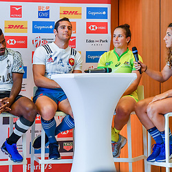 Captain of Fiji Jerry Tuwai, captain of France Manoel Dall Igna, captain of Australia Shannon Parry and captain of France Fanny Horta during Captains photocall and press conference prior to the Hsbc Paris Rugby Sevens on June 6, 2018 in Paris, France. (Photo by Aude Alcover/Icon Sport)
