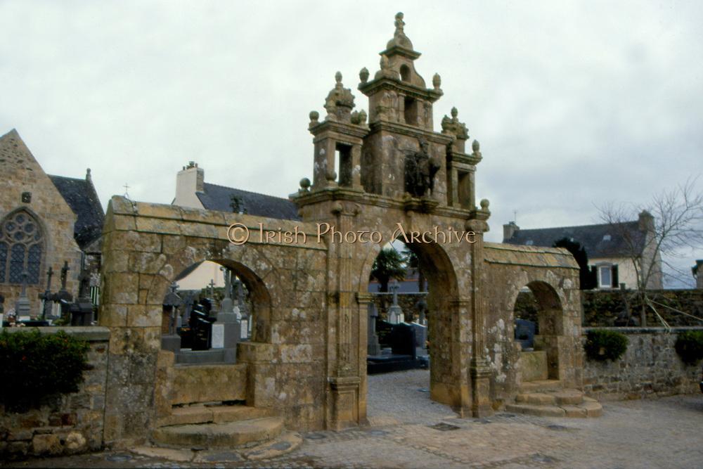 France, Brittany.  Argol, Church and Calvery.