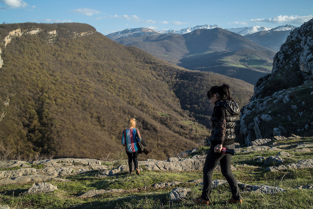 SHUSHI, NAGORNO-KARABAKH - APRIL 18: Women along the scenic Shushi cliffs on April 18, 2015 in Shushi, Nagorno-Karabakh. Since signing a ceasefire in a war with Azerbaijan in 1994, Nagorno-Karabakh, officially part of Azerbaijan, has functioned as a self-declared independent republic and de facto part of Armenia, with hostilities along the line of contact between Nagorno-Karabakh and Azerbaijan occasionally flaring up and causing casualties. (Photo by Brendan Hoffman/Getty Images) *** Local Caption ***