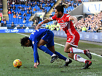 Football - 2017 / 2018 Sky Bet EFL Championship - Cardiff City vs. Middlesbrough<br /> <br /> Ryan Shotton of Middlesbrough tackles Armand Traore of Cardiff City, at Cardiff City Stadium.<br /> <br /> COLORSPORT/WINSTON BYNORTH