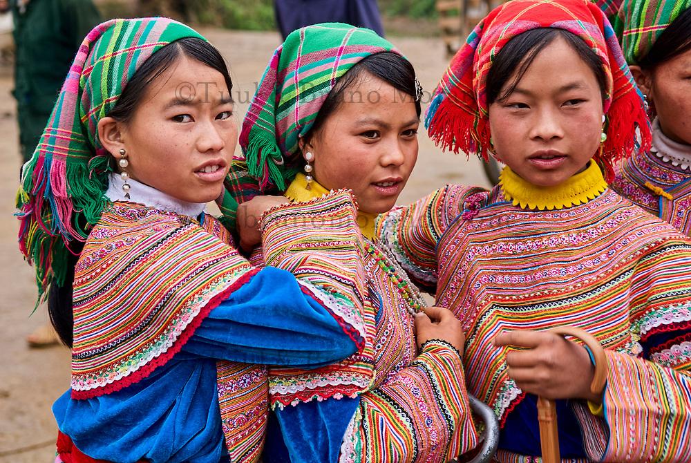 Vietnam. Haut Tonkin. Region de Bac Ha. Marché du dimanche deLung Phin. Ethnie Hmong fleur. // Vietnam. North Vietnam. Bac Ha area. Sunday market at Lung Phin.  Flower Hmong ethnic group.