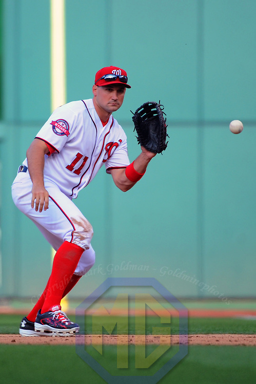 06 April 2015:  Washington Nationals first baseman Ryan Zimmerman (11) in action against the New York Mets on opening day at Nationals Park in Washington, D.C. where the New York Mets defeated the Washington Nationals, 3-1.