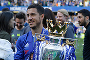 Chelsea Midfielder Eden Hazard (10) celebrates with the trophy during the Premier League match between Chelsea and Sunderland at Stamford Bridge, London, England on 21 May 2017. Photo by Andy Walter.