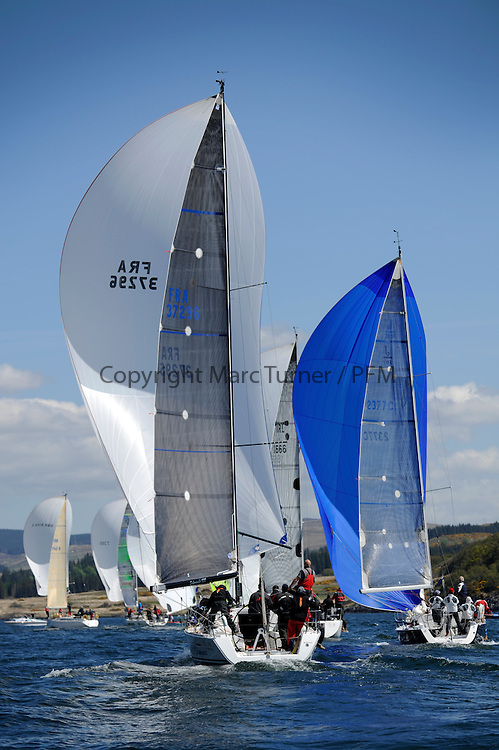 The Clyde Cruising Club's Scottish Series held on Loch Fyne by Tarbert. Day 2 racing in a perfect southerly..FRA37296, Salamander XXI ,John Corson ,CCC , First 35 and 2377C ,Tigh Soluis II ,Iain McKinnon ,Hillhead SC ,J109