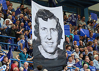 Football - 2014 / 2015 Premier League - Chelsea vs. Sunderland.   <br /> <br /> The face face of Peter Osgood displayed on a legends flag ahead of the game at Stamford Bridge. <br /> <br /> COLORSPORT/DANIEL BEARHAM