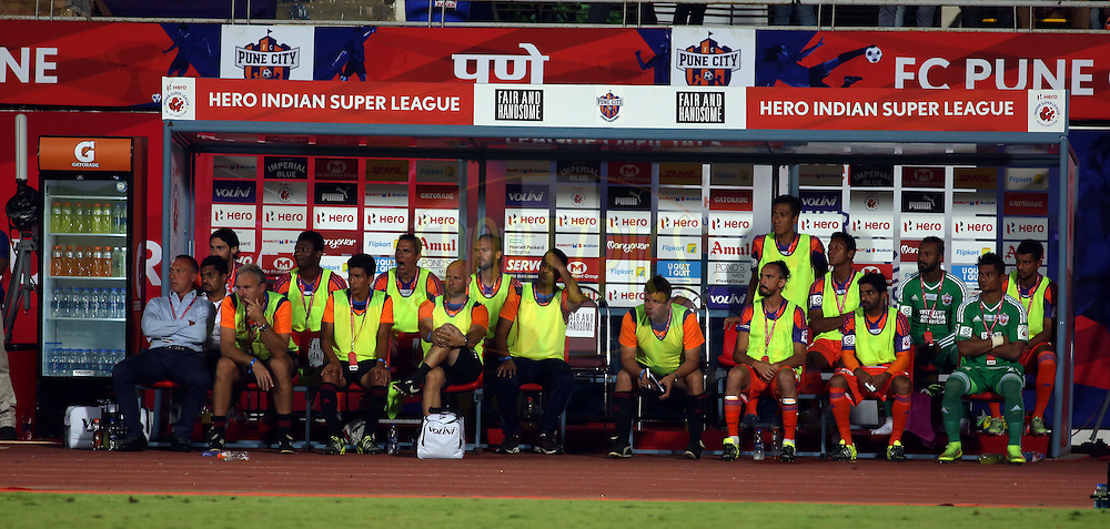 Dugout during match 33 of the Indian Super League (ISL) season 2  between FC Pune City and FC Goa held at the Shree Shiv Chhatrapati Sports Complex Stadium, Pune, India on the 8th November 2015.<br /> <br /> Photo by Sandeep Shetty / ISL/ SPORTZPICS