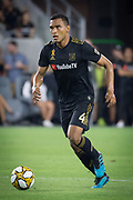 LAFC defender Eddie Segura (4) moves the ball during an MLS soccer match against the Minnesota United. Minnesota United defeated the LAFC 2-0 on Sunday Sept. 1 2019, in Los Angeles. (Ed Ruvalcaba/Image of Sport)