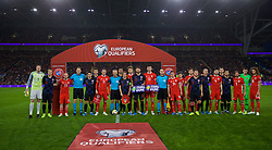 CARDIFF, WALES - Sunday, October 13, 2019: Wales and Croatia players come together for a UEFA Equal Game group photograph before the UEFA Euro 2020 Qualifying Group E match between Wales and Croatia at the Cardiff City Stadium. (Pic by David Rawcliffe/Propaganda)