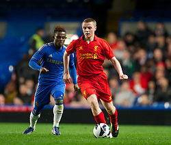 LONDON, ENGLAND - Friday, April 19, 2013: Liverpool's Jordan Rossiter in action against Chelsea during the FA Youth Cup Semi-Final 2nd Leg match at Stamford Bridge. (Pic by David Rawcliffe/Propaganda)