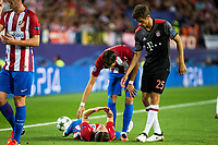Atletico de Madrid's players Filipe Luis and Yannick Carrasco and Bayern Munich's player Thomas Muller during match of UEFA Champions League at Vicente Calderon Stadium in Madrid. September 28, Spain. 2016. (ALTERPHOTOS/BorjaB.Hojas)
