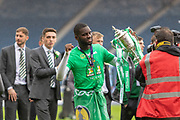 Odsonne Edouard celebrates with the Scottish Cup following Celtics Victory in the William Hill Scottish Cup Final match between Heart of Midlothian and Celtic at Hampden Park, Glasgow, United Kingdom on 25 May 2019.