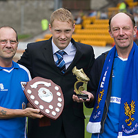 St Johnstone v Livingston...02.08.08<br /> Steven Anderson receiving his Jeanfield 208 Saints player of the year awards from Mike Murie (left) and Andy Irons<br /> Picture by Graeme Hart.<br /> Copyright Perthshire Picture Agency<br /> Tel: 01738 623350  Mobile: 07990 594431