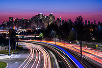 Bow Trail Highway & Calgary Skyline, Sunrise