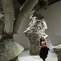 "VENICE, ITALY - JUNE 02:  A woman walks through the installation  ""The Murder of your heritage"" by Argentian artist Adrian Villar Rojas on June 2, 2011 in Venice, Italy. This year's Biennale is the 54th edition and will run from June 4th until 27 November."