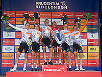 LONDON UK 30TH JULY 2016:  Classique Cyclist Presenation Ceremony Winning Team RaboLiv Womens Cycling Team. The Prudential RideLondon Classique elite womens' race. Prudential RideLondon in London 30th July 2016<br /> <br /> Photo: Jon Buckle/Silverhub for Prudential RideLondon<br /> <br /> Prudential RideLondon is the world's greatest festival of cycling, involving 95,000+ cyclists – from Olympic champions to a free family fun ride - riding in events over closed roads in London and Surrey over the weekend of 29th to 31st July 2016. <br /> <br /> See www.PrudentialRideLondon.co.uk for more.<br /> <br /> For further information: media@londonmarathonevents.co.uk