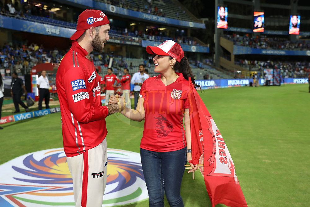 Preity Zinta owner of Kings XI Punjab and Kings XI Punjab captain Glenn Maxwell after the match 51 of the Vivo 2017 Indian Premier League between the Mumbai Indians and the Kings XI Punjab held at the Wankhede Stadium in Mumbai, India on the 11th May 2017<br /> <br /> Photo by Sandeep Shetty - Sportzpics - IPL