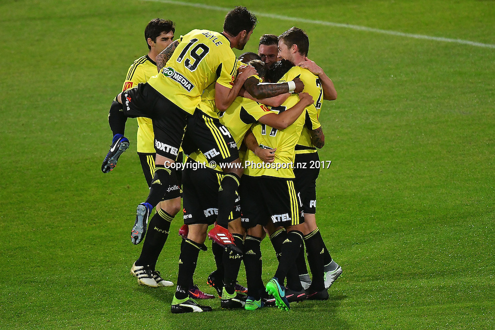 The Phoenix celebrate a goal during the A-League - Phoenix v Melbourne Victory football match at Westpac Stadium in Wellington on Tuesday the 17 January 2017. Copyright Photo by Marty Melville / www.Photosport.nz