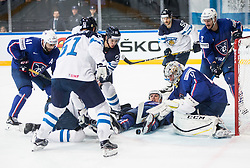Sebastian Aho of Finland vs Antoine Roussel of France and Florian Hardy of France during the 2017 IIHF Men's World Championship group B Ice hockey match between National Teams of Finland and France, on May 7, 2017 in Accorhotels Arena in Paris, France. Photo by Vid Ponikvar / Sportida