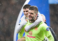 Football - 2019 Betfred Scottish League Cup Final - Celtic vs. Rangers<br /> <br /> Fraser Forster of Celtic and Ryan Christie of Celtic at full time, Hampden Park Glasgow.<br /> <br /> COLORSPORT/BRUCE WHITE