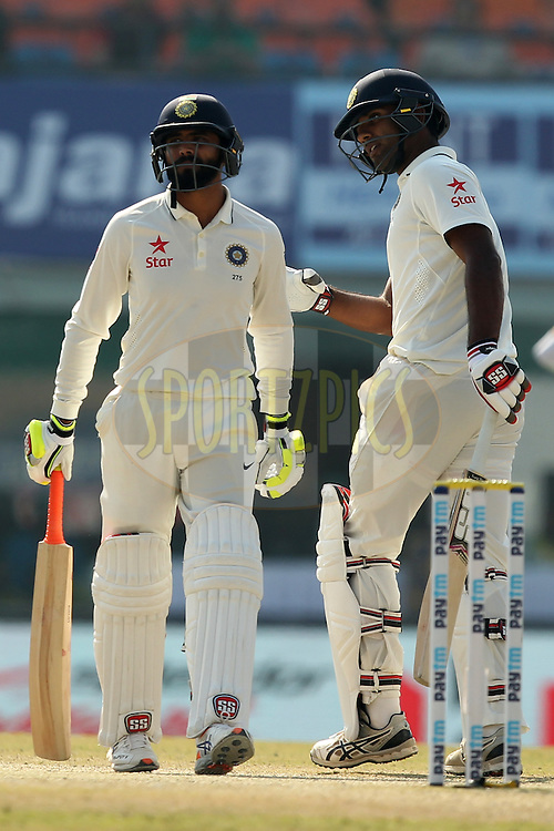Ravindra Jadeja and Jayant Yadav of India during day 3 of the third test match between India and England held at the Punjab Cricket Association IS Bindra Stadium, Mohali on the 28th November 2016.Photo by: Prashant Bhoot/ BCCI/ SPORTZPICS