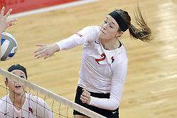 17 October 2014:  Jaelyn Keene during an NCAA Missouri Valley Conference (MVC) womens volleyball match between the Northern Iowa Panthers and the Illinois State Redbirds for 1st place in the conference at Redbird Arena in Normal IL