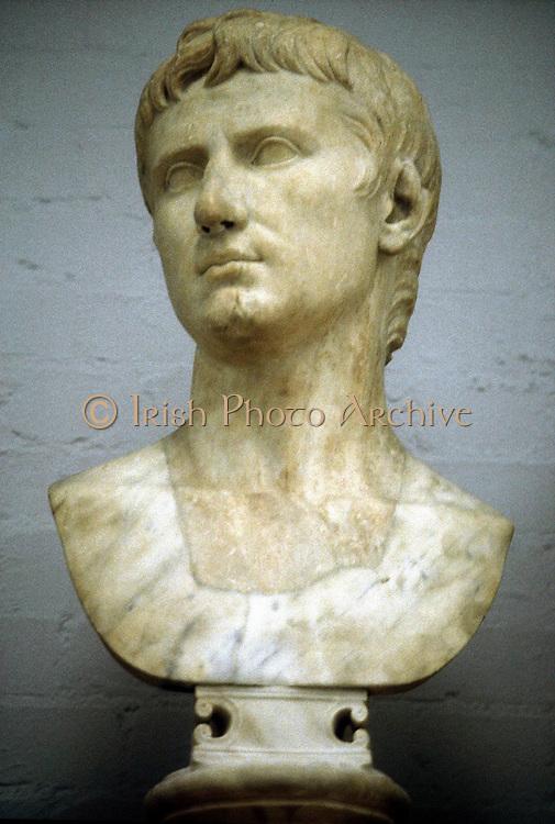 Augustus Caesar - Gaius Julius Caesar Octavianus (63 BC-14 AD), first Roman Emperor from 27 BC. Marble bust of Augustus as a young man