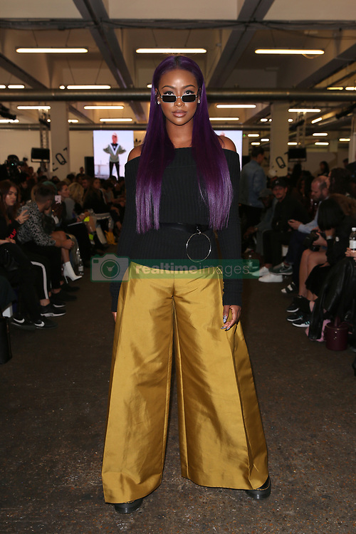 Jasmine Skye on the front row during the Teatum Jones London Fashion Week SS18 show held at the BFC Show Space, London. Picture date: day month, 2017. Photo credit should read: Isabel Infantes/PA Wire