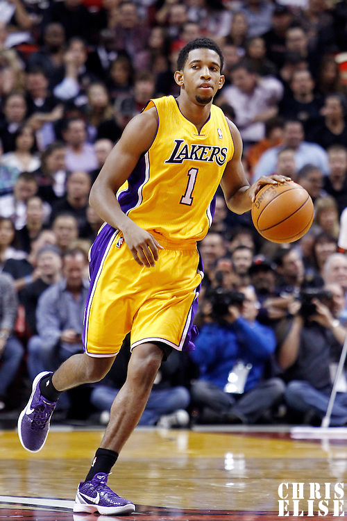 19 January 2012: Los Angeles Lakers guard Darius Morris (1) brings the ball up court during the Miami Heat 98-87 victory over the Los Angeles Lakers at the AmericanAirlines Arena, Miami, Florida, USA.